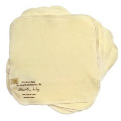 100% Certified Organic Cotton Beaming Baby Chemical-Free Organic Cotton Washable Baby Wipes Pack of 5 (20cm x 20cm)